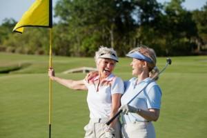 Friends enjoying a round of golf.