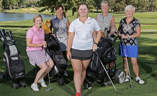 for Kate Emery story on the modernisation of golf clubs. L-R Lisa Rich, Angie Gregory, Claudia Pisano, Anne Holt, Maria Addicott  Picture: Ben Crabtree The West Australian.   11/02/201