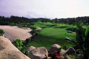 The spectacular 12th hole at Bintan Lagoon Resort's Jack Nicklaus Seaview Course.