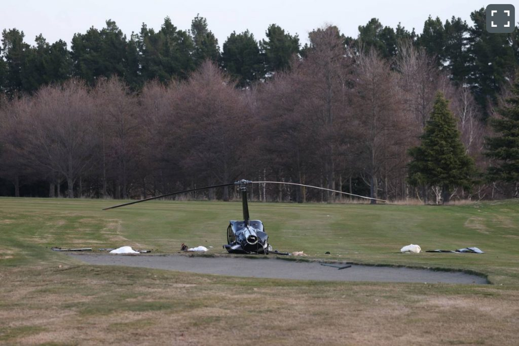 Helicopter crashes onto golf course in Windwhistle, Canterbury
